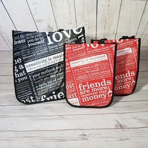Lululemon reusable tote bags black and red large